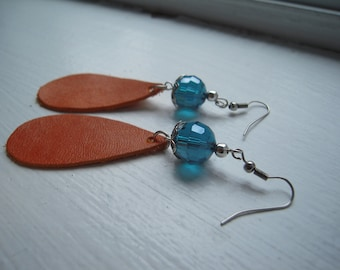 Original real leather earrings