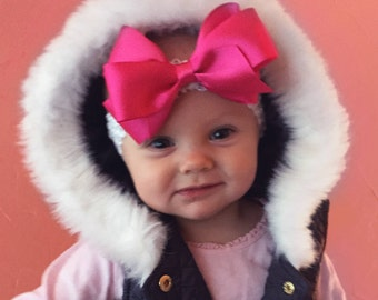 Forehead Kisses, Pink (Hair Bow Attached by Band, Newborn-3 Yrs)