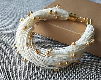 White Linen Bracelet Gold Wedding Bracelet Thread Cuff Bohemian Bracelet Beaded Bracelet Boho Chic Bracelet Bridal Jewelry Beach Wedding
