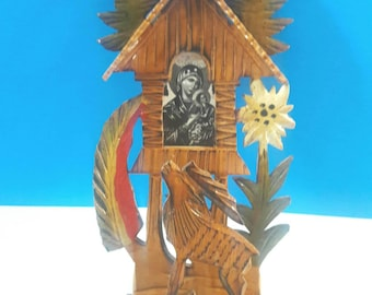 Beautiful Hand Carved Wooden Shrine, Religious Shrine, Handmade, Mary Mother Of God And Child, Handcrafted Wood Shrine, Religious.