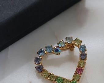 Rhinestone Heart Brooch - Crystal Heart Brooch - Gold Heart Brooch