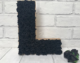 Large black rose letter, Freestanding gold letter, Gift for a sister, Gift for an Aunt, Rose decor, Gothic decor, Gothic gifts, Wedding sign