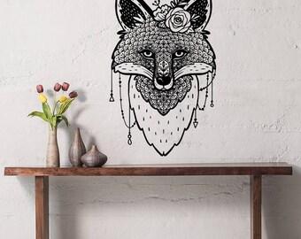 Fox Wall Decal Fox Vinyl Decal Fox Decals Boho Style Rustic Fox Decal Baby Nursery Bedroom Decor Modern Art Mural Interior Design S62