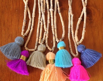 FESTIVAL SEASON Tassel Necklace with African Clay Beads