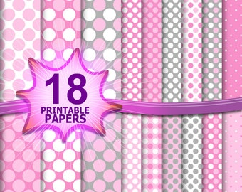 Baby girl paper, pink scrapbook paper, polka dot digital, polka dot background, polka dot scrapbook, pink grey pattern, pink wedding digital
