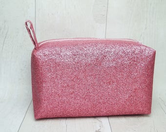 Glitter large box makeup bag/ travel bag/ wash bag, fully lined with water proof fabric