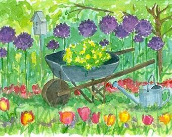 Purple Allium Flower Garden Original Watercolor Painting