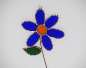 Stained Glass Dark Blue and Orange Mom's Flower Suncatcher
