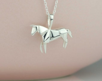 Stunning Origami Horse Necklace in Silver, Rose Gold or Gold