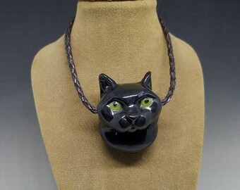 Black Cat Handmade Glass Pendant 1