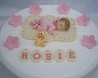 Edible baby boys Christening 1st birthday cake topper Boys