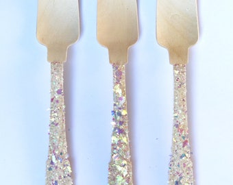Iridescent Glitter Wooden Forks, Wooden Cutlery, Glitter Party Decor, Valentines party, Bridal Shower Forks, Glitter Party Supplies