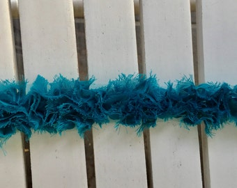 Wrights Fabric Trim in teal, 2 in. width, sold by the yard, for scrapbooking, card making, sewing, fabric arts, mixed media
