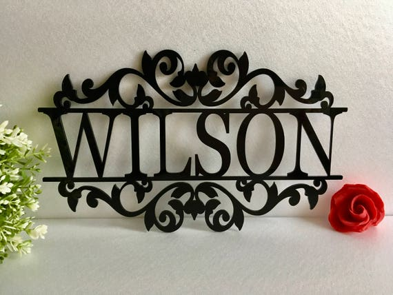Personalized Any Name Laser Cut Acrylic Sign Outdoor Hanging Family Last Name Sign Monogram Garden Door Sign Custom Wedding Sign Wall Decor