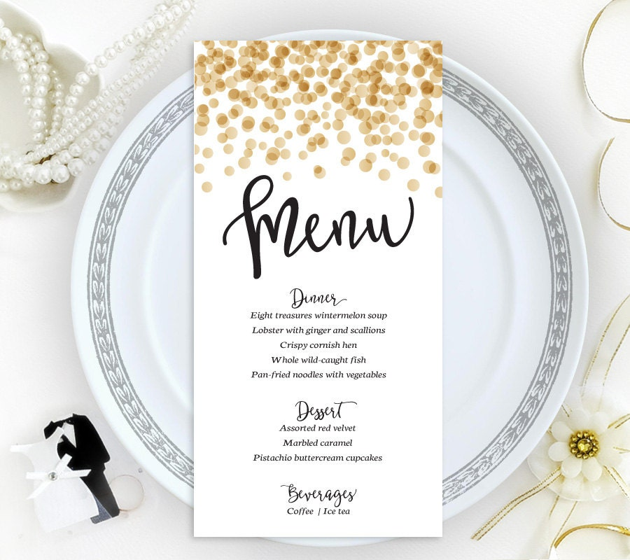 Confetti Wedding Menu Cards Printed On Shimmer Cardstock