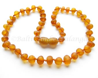 Baltic Amber Teething Necklace, Raw Unpolished  Rounded Cognac Color Beads