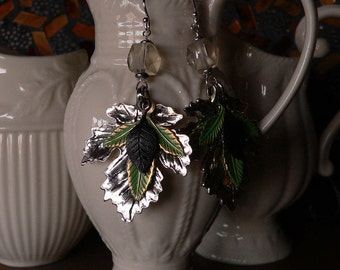 bold earring, leaf earring, mixed metal, crystal earring, layered leaves, boho earring, jewelry, earring, gift for women, dangle earring