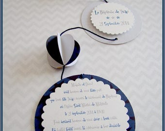 Mobile baptism invitation boy blue and gray star original