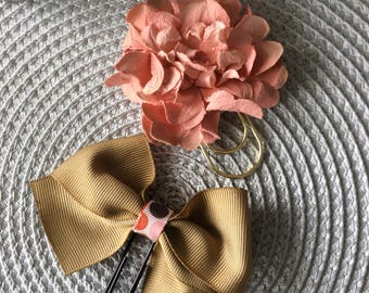 Tam and pink bow and flower clips.