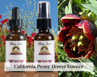 California Peony Flower Essence, 1 oz Dropper or Spray for Loving Life, Abundance, Prosperity