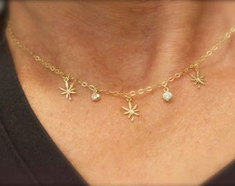 Weed necklace with CZ charms - mini marijuana leaf necklace - 420 necklace - leaf necklace- weed necklace - gold-rose gold- silver -