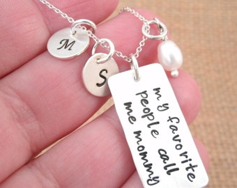 Personalized Mothers Necklace - Personalized mom necklace - My Favorite People Call Me Mommy