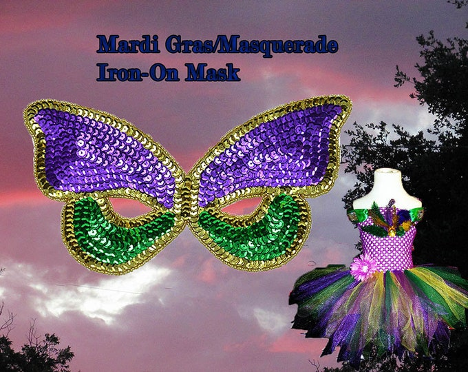 Masquerade Mardi Gras Mask Iron On Brand New