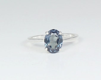 Color - Changing Alexandrite Sterling Silver Ring June Birthstone