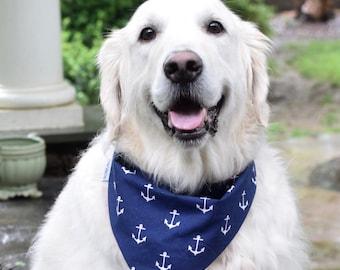 Nautical Pet Bandana || Personalized Navy and White Anchors Reversible Red Chevron || Classic Tie Dog Pupdana || Puppy Gift