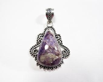 Womens Pendant, Purple Charoite Gemstone Pendant, Sterling Silver Pendant, Boho Necklace, Bohemian Gemstone Jewelry, Boho Jewelry