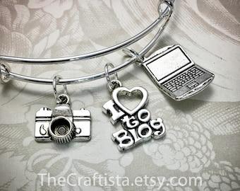 BLOG, Blogger Bracelet, Blogger Bangle, Blogger Charm, Blogger Gift, Gifts for Bloggers, I love to Blog, Laptop Charm, Camera Charm, Blogger