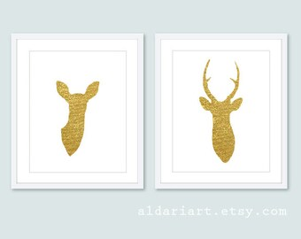 Gold Deer Antlers Art Print Set - Modern Deer Couple Print Set - Gold Foil Deer Wall Art - Stag and Doe -