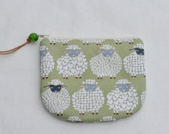 Sheepish in Moss Padded Round Zipper Pouch / Coin Purse / Gadget / Cosmetic Bag - READY TO SHIP