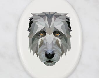 A ceramic tombstone plaque with a Irish Wolfhound dog. Art-Dog geometric dog