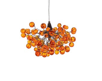 Orange Ceiling Light, Ceiling Lighting ,chandelier, elegant hanging lamp with different size of bubbles for children room or dining room.