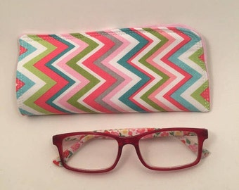 Chevron Eye Glass Case,  Fabric Eyeglass Case, Case for Sunglasses,  Case for Glasses, Gift for Her, Stocking Stuffer,  L Miller Creations