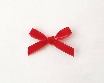 Little Red Velvet Ribbon Bow- Christmas Bow