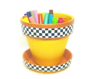 Yellow Taxi Cab Painted Clay Flower Pot