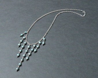 Bib necklace - Bohemian 6mm faceted - blue heavy metal Comet