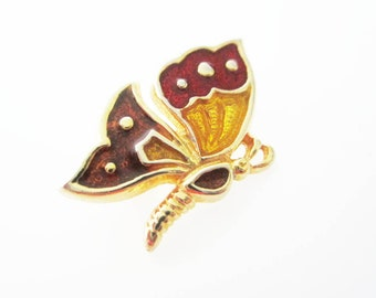 Hedison Gold and Enameled Butterfly Vintage Brooch