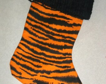 Bright Tiger Print and Chenille Handmade Christmas Stocking with FREE US SHIPPING