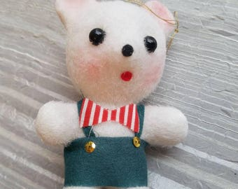 Vintage Flocked White Teddy Bear Christmas Ornament 1950s Made in Japan