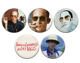 5x Hunter S. Thompson 25mm / 1 Inch D Pin Button Badges