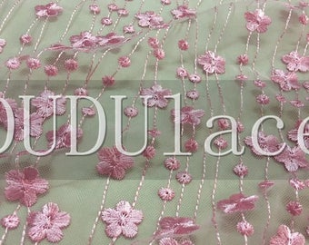 """Peach Pink Floral Lace Fabric Embroidered Tulle bridal Dress Fabric 53"""" 1 Yard S0435"""