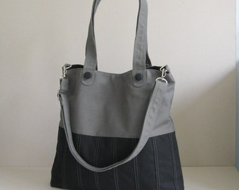 Sale - Black/Grey Canvas Bag, tote, purse, women, everyday bag, crossbody bag, messenger bag, adjustable Strap