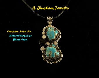 Natural Cheyenne Mine, Turquoise, Black Onyx Pendant GB 002