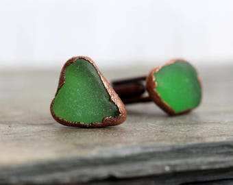 Beach Glass Cufflinks - Gift for Dad - Green Seaglass Cuff Links