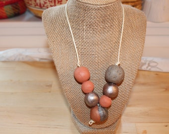 Silver clay necklace, Eco Friendly handmade clay beads