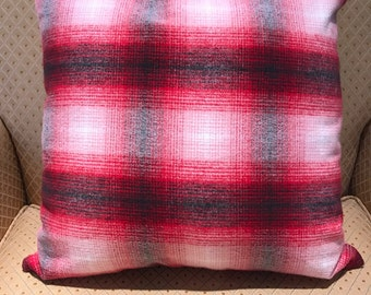 Red, White, Grey Plaid Pillow Cover