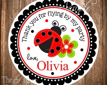 Ladybug Gift Tags, PRINTABLE Ladybug Stickers, Personalized Ladybug labels, Ladybug Birthday Party